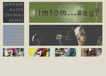 The front page displays a photo of Jimom's band, a random footer of rotating photos from the image gallery, and a menu.
